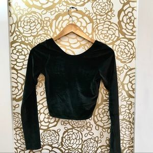 Abercrombie & Fitch Black Velvet Long Sleeve Crop